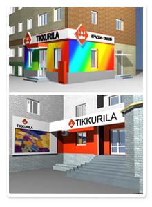 Дизайн наружной рекламы для салонов Tikkurila